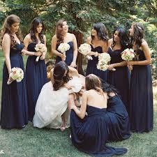 elegant floor length bridesmaid dress navy blue chiffon