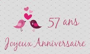 57 ans de mariage carte anniversaire mariage 57 ans oiseau coeur