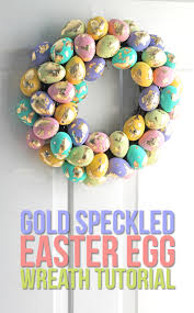 the craft patch diy gold leaf speckled easter egg spring wreath