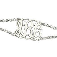 monogram initial bracelet sterling silver monogram bracelet with chain monogram initial