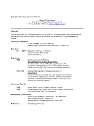 Registered Nurse Resume Samples Free by Graduate Nursing Resume Examples Free Graduate Nurse Resume