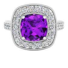 18ct white gold diamond amethyst cushion diamond halo ring with amethyst 18ct white gold stylerocks