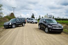 lexus lx 570 vs range rover winding road comparison test land rover lr4 vs cadillac