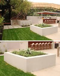 cuisine exterieure beton design exterieur bac a fleurs en beton blanc délimiter jardin