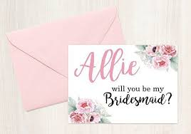 bridesmaid cards personalized floral will you be my bridesmaid
