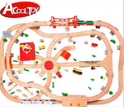 free shipping acool toy top quality deluxe diy 130pcs wooden track
