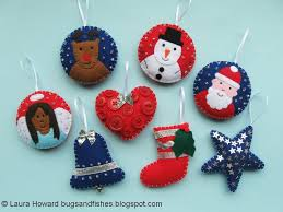 felt christmas ornaments bugs and fishes by lupin all 8 free felt christmas ornament tutorials