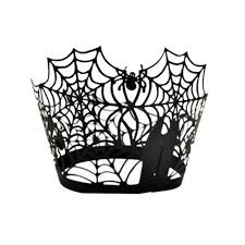 fenical cupcake wrappers 50 spiderweb laser cut bake cake paper