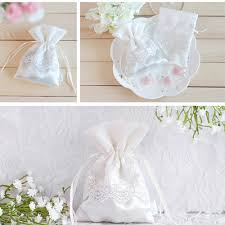 lace favor bags satin wedding favor bag with decorative lace ewfb022 as low as 1 67