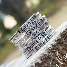 stackable mothers rings with names 2mm sterling silver stackable name rings stackable