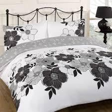 Duvet Quilt Cover Pollyanna Black Floral White Reversible Double Duvet Set Bed Quilt