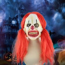 latex full face scary toothy clown mask with red twin tail hair