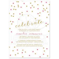 party invitations celebrate confetti in coral gold u0026 white