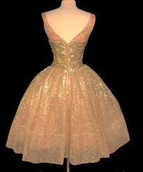 vintage 1950s dress 50s party dress gold lace cocktail from