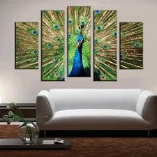 Peacock Decor For Home by 5pcs Printed Peacock Painting Canvas Print Room Decor 20 66