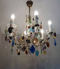 Marie Chandelier Gypsy Color 6 Arm Multi Color Large Acrylic Crystal Chandelier New