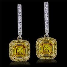 18k gold earrings yellow diamond earrings white yellow 18k gold 2 39 ct 1 12 ct