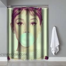 Chapel Hill Shower Curtain by Audrey Hepburn Bubble Gum Screenprint Shower Curtains Shower