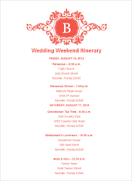 wedding itinerary for guests wedding itinerary template 44 free word pdf documents
