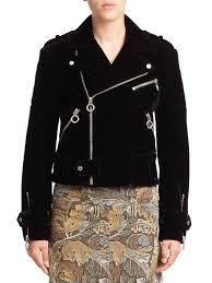 womens motorcycle apparel marc by marc jacobs semona velvet biker jacket in black lyst