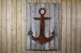 anchor on wood back rustic metal letters wall