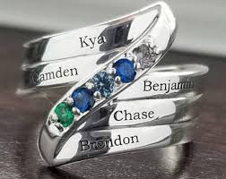 ring with children s names birthstone ring etsy
