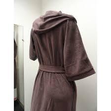 robe de chambre eponge femme peignoir éponge à capuche taupe 8198