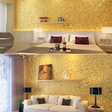 Warm Colors For Living Room Walls 3d Embossed Waterproof Pvc Gold Rose Designer Wallpaper For Warm