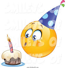 vector clipart of a birthday smiley blowing out a candle on a cake