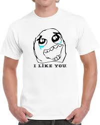 Happy Crying Meme - crying meme guy i like you face comic character t shirt