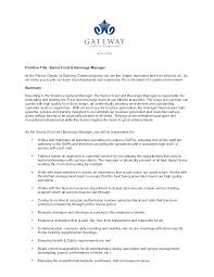 senior management resume samples buffet attendant cover letter food