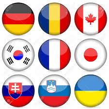 Flag With Red Circle Circle National Flag Icon Set Vector Illustration Royalty Free