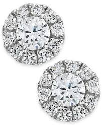diamond earrings diamond halo stud earrings 14k white gold 3 4 ct t w