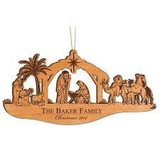 personalized wood ornament nativity nativity