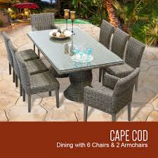 6 Chair Patio Dining Set Cape Cod Vintage Stone Rectangular Outdoor Patio Dining Table With