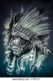 sketch of tattoo art native american indian head chief vintag