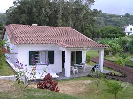 small bungalow home small cottage bungalow on the azores stock photo