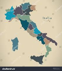 Italy Regions Map by Modern Map Italy Regions Stock Illustration 528679762 Shutterstock
