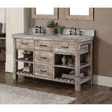 Vanity Outlet Store Infurniture Rustic Style 60 Inch Double Sink Bathroom Vanity And