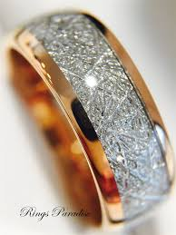 rings with bands images Meteorite ring tungsten wedding bands rose gold tungsten jpg