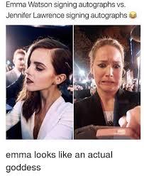 Emma Watson Meme - emma watson signing autographs vs jennifer lawrence signing