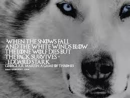 when the snows fall and the white winds the lone wolf dies