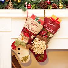 christmas stocking big size santa sack santa claus snowman gift