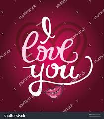 love you hand written lettering romantic stock vector 555242296