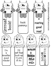 5 images printable monster bookmarks free printable kids