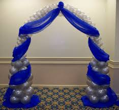 party people event decorating company royal blue and silver