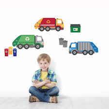 Garbage Truck And Recycling Truck Wall Decals Peel And Stick Eco