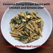 coconut chicken curry over uddo u0027s kitchen red lentil pasta
