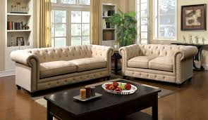 3 piece stanford ivory fabric sofa set foa 6269sf usa furniture