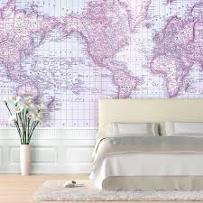 World Map Wallpaper Mural by Swag Paper World Map 1876 Shipping Routes Self Adhesive Wallpaper